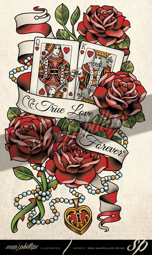 King And Queen Playing Card With Red Roses And Banner Tattoo Design