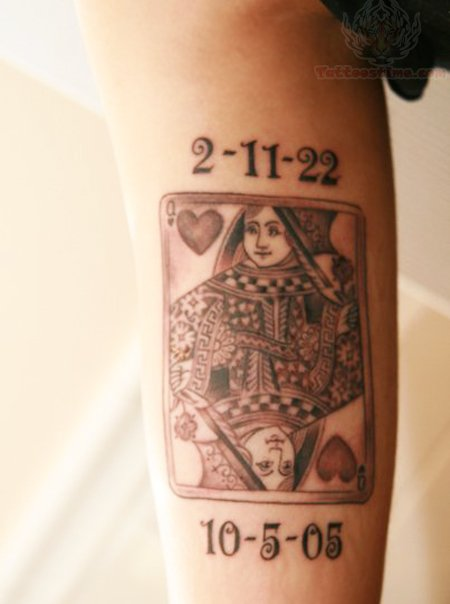 Memorial Queen Playing Card Tattoo Design For Arm