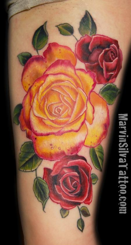 2 Unique Orange Rose Tattoo On Thigh
