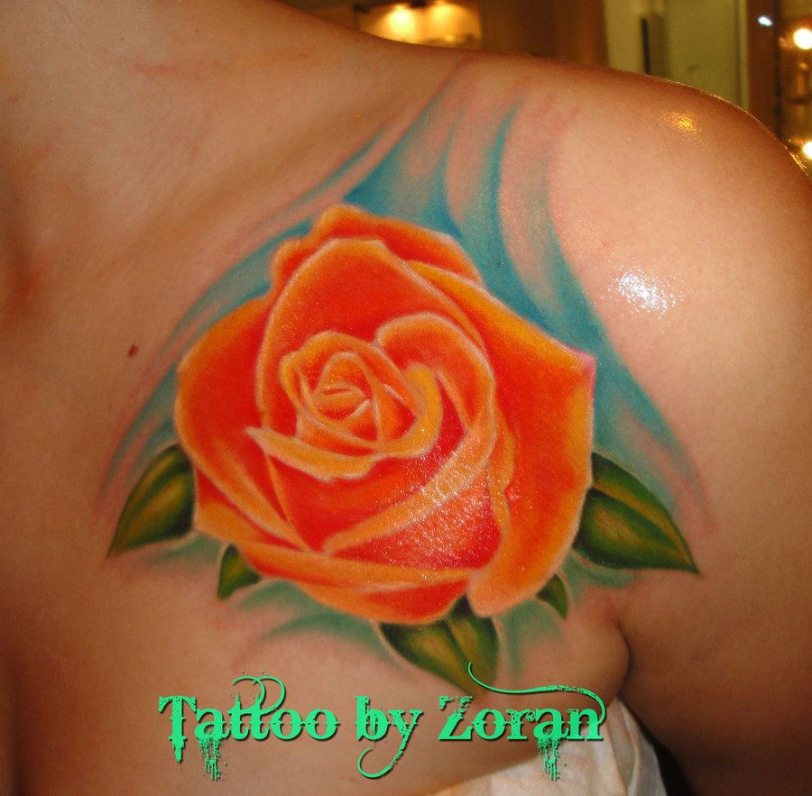 Orange And Black Rose Tattoo Pictures to Pin on Pinterest ...
