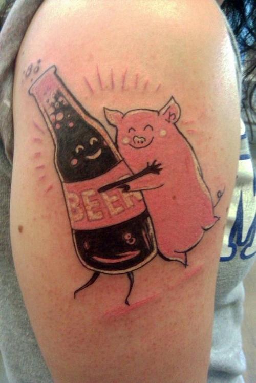 pig with beer bottle tattoo design for sleeve by sarah goldstone. Black Bedroom Furniture Sets. Home Design Ideas