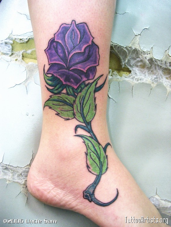 8755a1e71 33 Awesome Purple Rose Tattoos Images, Pictures And Ideas