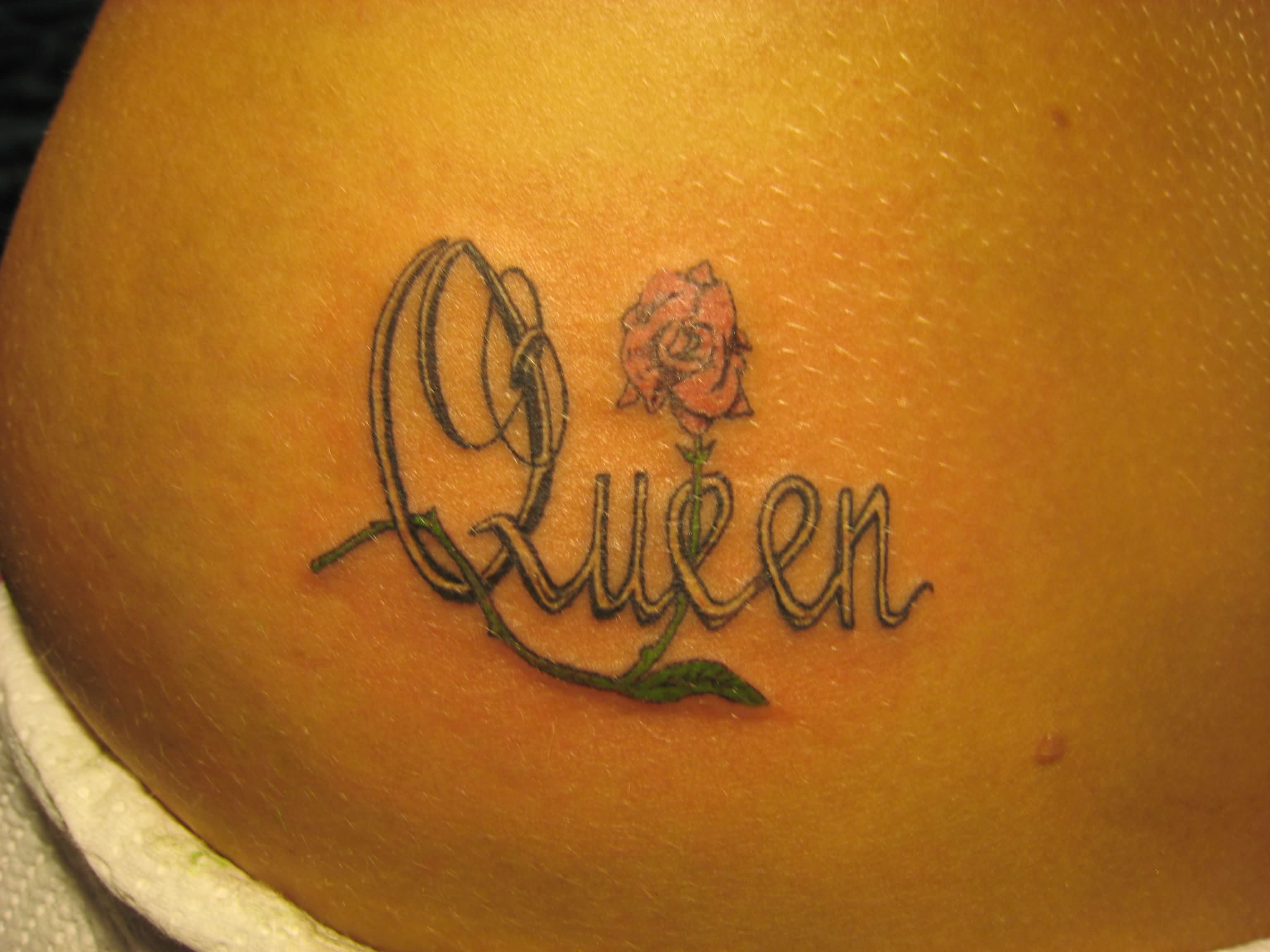 Queen Lettering With Rose Tattoo Design