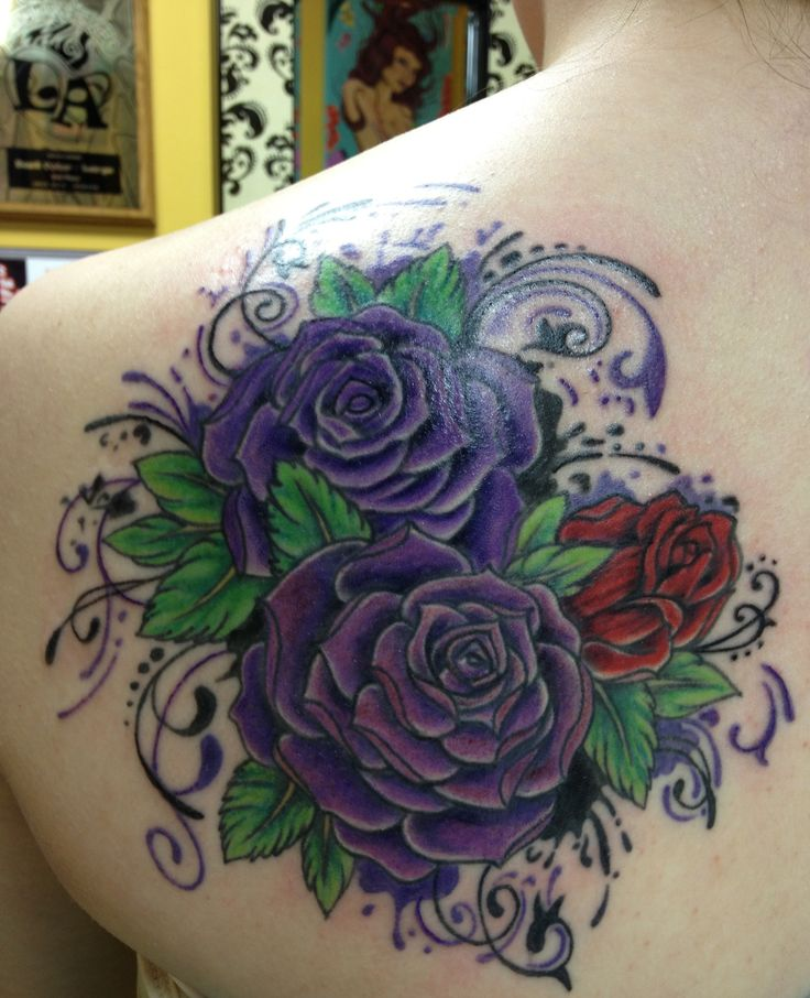 33 Awesome Purple Rose Tattoos Images, Pictures And Ideas