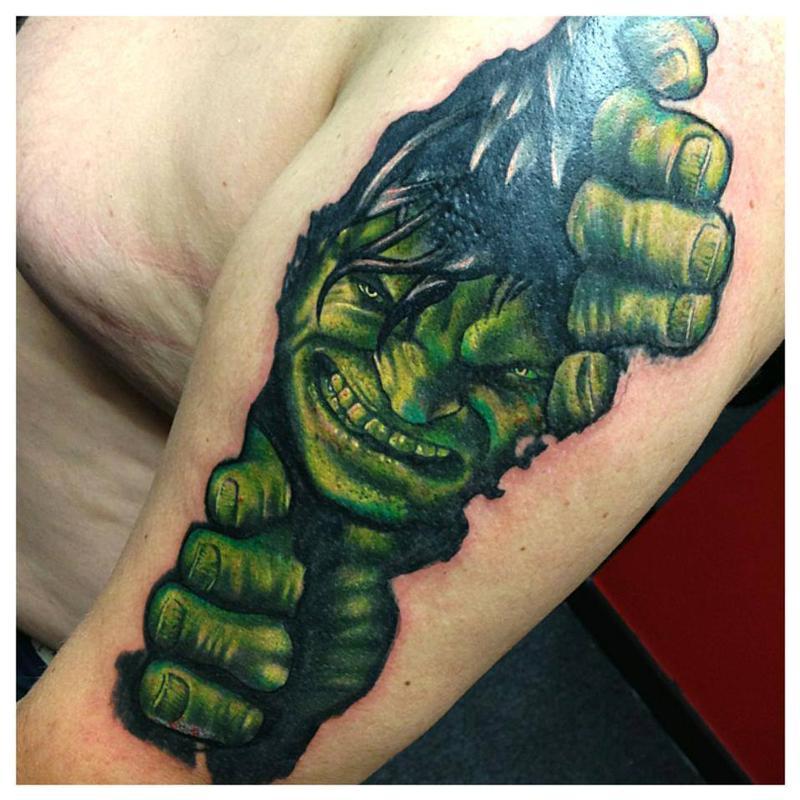 Ripped Skin Hulk Tattoo Design For Sleeve