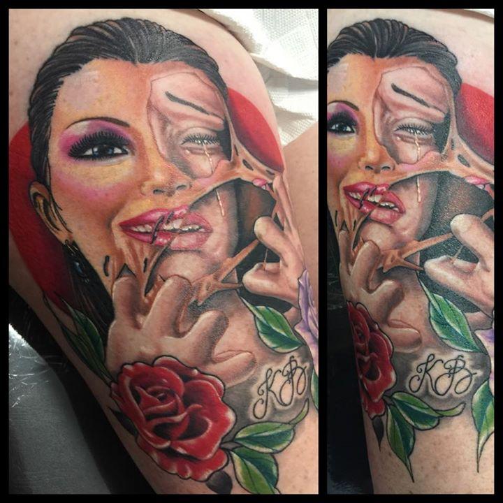 Ripped skin girl portrait tattoo - Ripped-skin-girl-portrait-tattoo-by-Levi-Bell