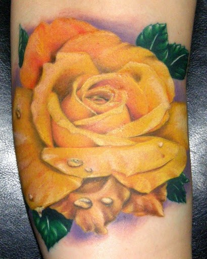 020c8262f 3D Yellow Rose Tattoo Design For Arm