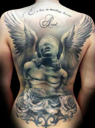 eab0d8d3d Amazing 3D Angel Gargoyle With Roses Tattoo On Girl Full Back