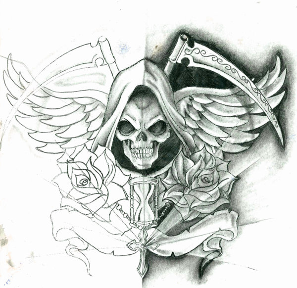 Amazing Grim Reaper With Wings And Roses Tattoo Design By Juan Carlos Lopez Garcia