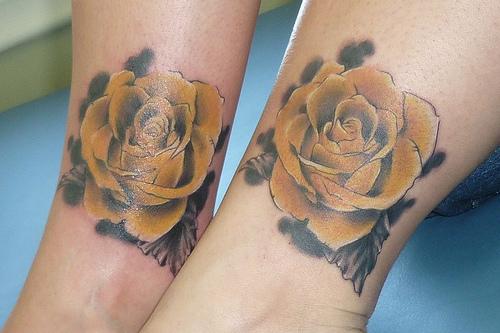 Amazing Yellow Rose Tattoo For Couple Leg
