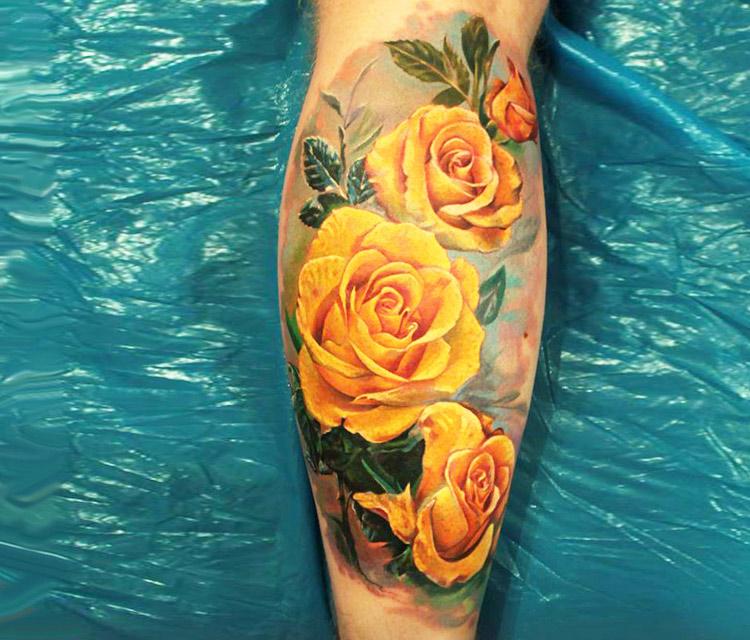 Amazing yellow roses tattoo design for leg calf mightylinksfo