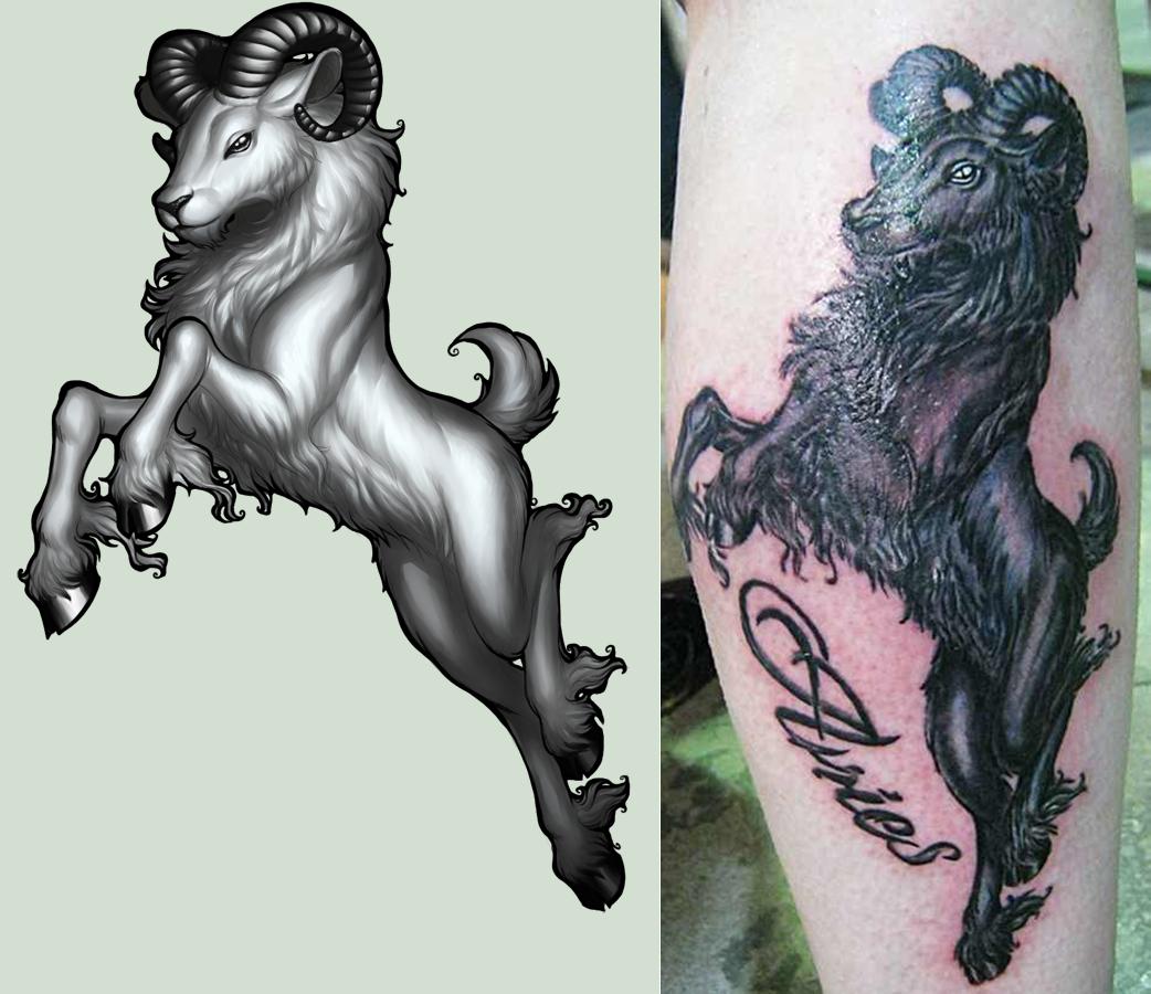 Tattoo designs tribal aries zodiac sign tattoos golfian com - Awesome 3d Aries Tattoo Design For Leg By Cachet W