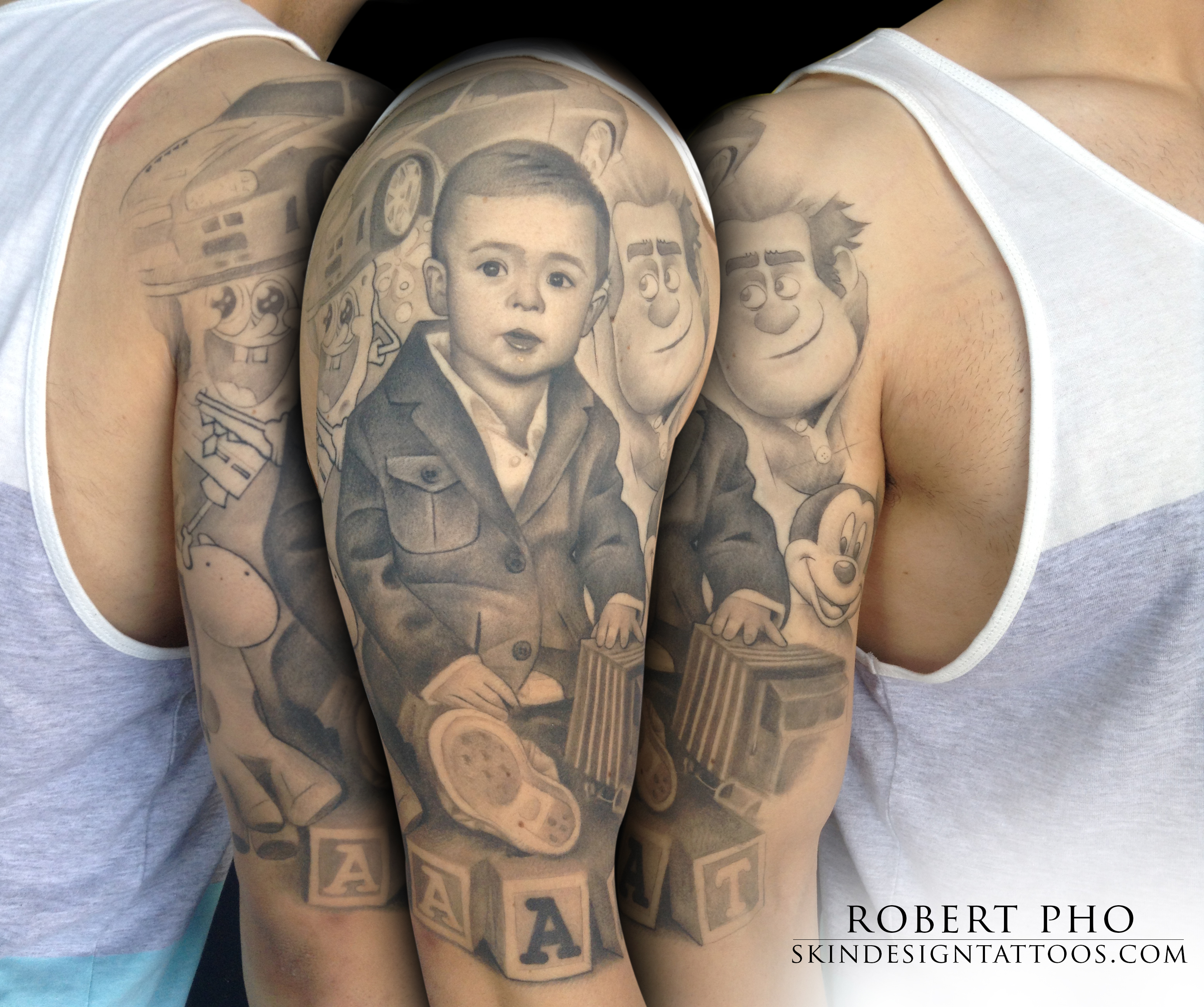 Baby portrait tattoo ideas - Awesome 3d Baby Portrait Tattoo On Man Left Half Sleeve By Robert Pho