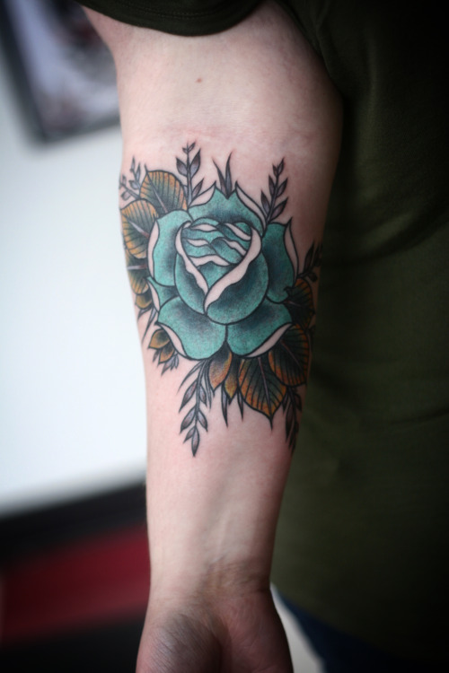 02a9d900d65c0 Awesome Green Rose With Leaves Tattoo On Forearm By Alice Carrier