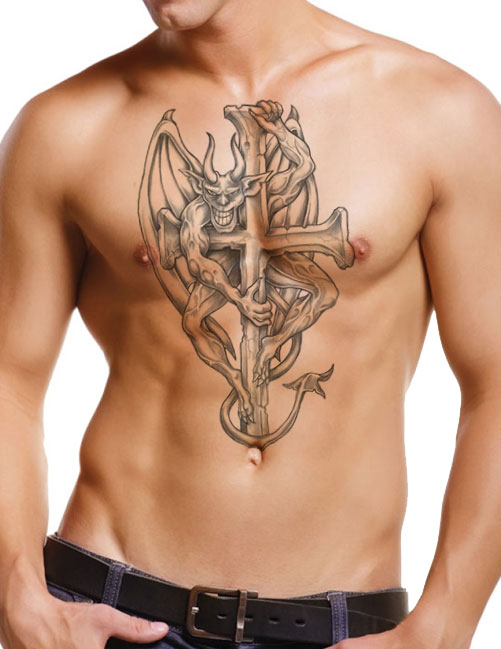 10 awesome gargoyle chest tattoo images pictures and for Black and grey chest tattoos