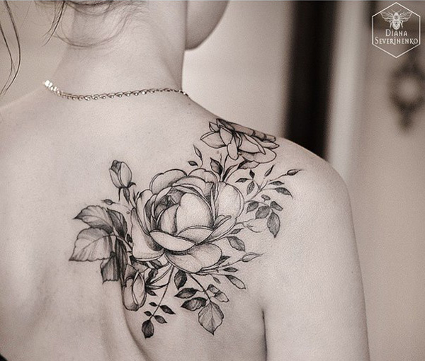22 awesome white rose tattoo images pictures and design ideas for Rose tattoo on back shoulder