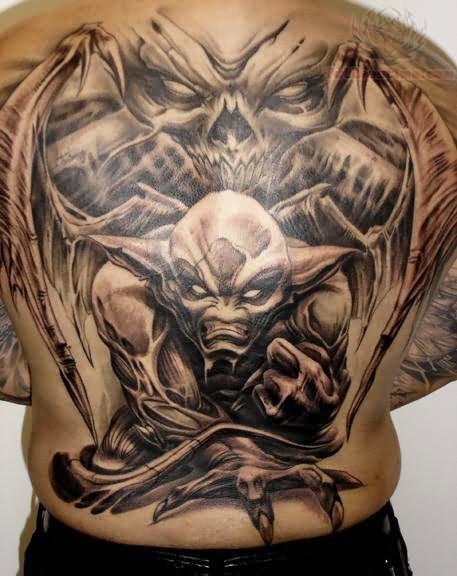 bbd00c6c6 Black Ink Gargoyle Tattoo On Man Full Back