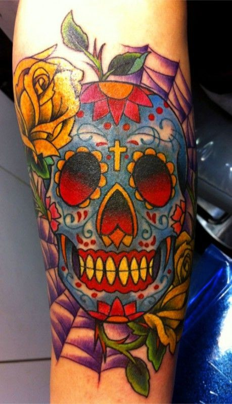 colorful sugar skull with yellow rose tattoo design for forearm. Black Bedroom Furniture Sets. Home Design Ideas