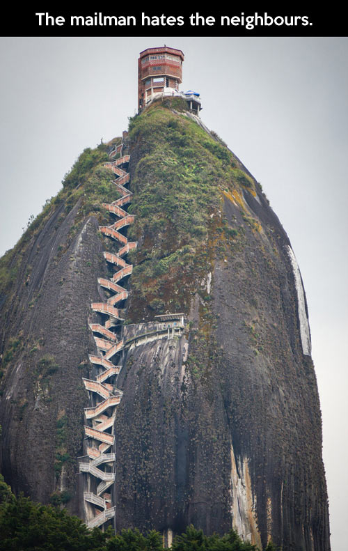 Funny Home On Top Hill Stairs