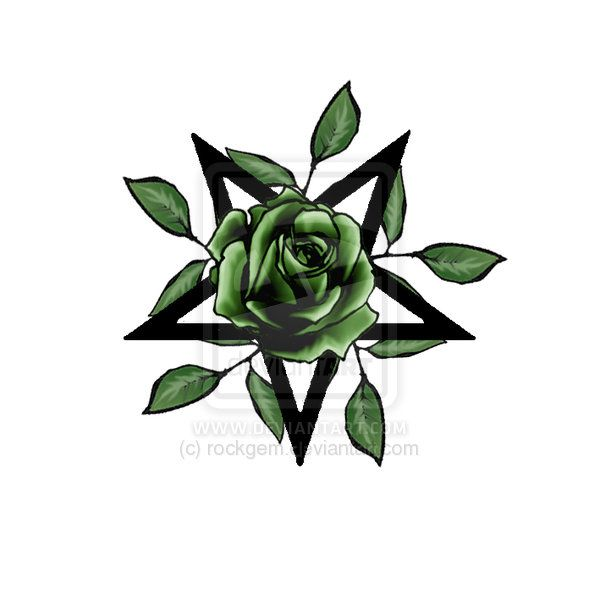 5180b97f75f80 Green Rose With Leaves In Star Tattoo Design By Gem Hart By Gem Hart