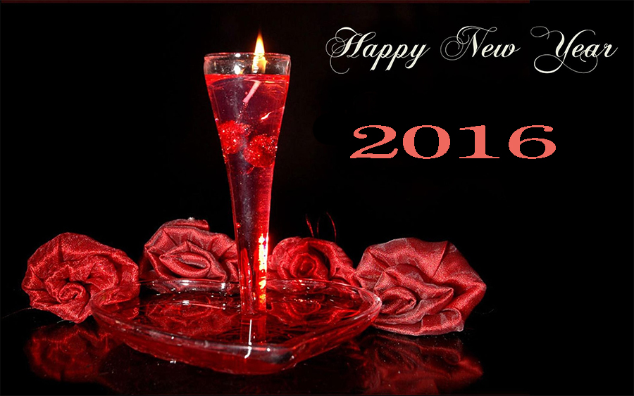 happy new year 2016 glass candle picture