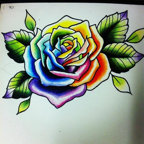 5 latest rainbow rose tattoo designs. Black Bedroom Furniture Sets. Home Design Ideas