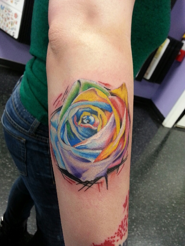 watercolor rainbow rose tattoo on right side thigh. Black Bedroom Furniture Sets. Home Design Ideas