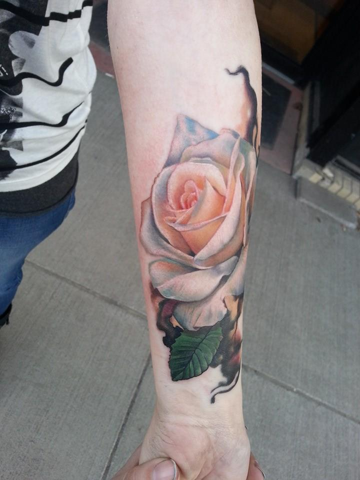Realistic white rose tattoo on forearm by sarahmiller for White rose tattoo