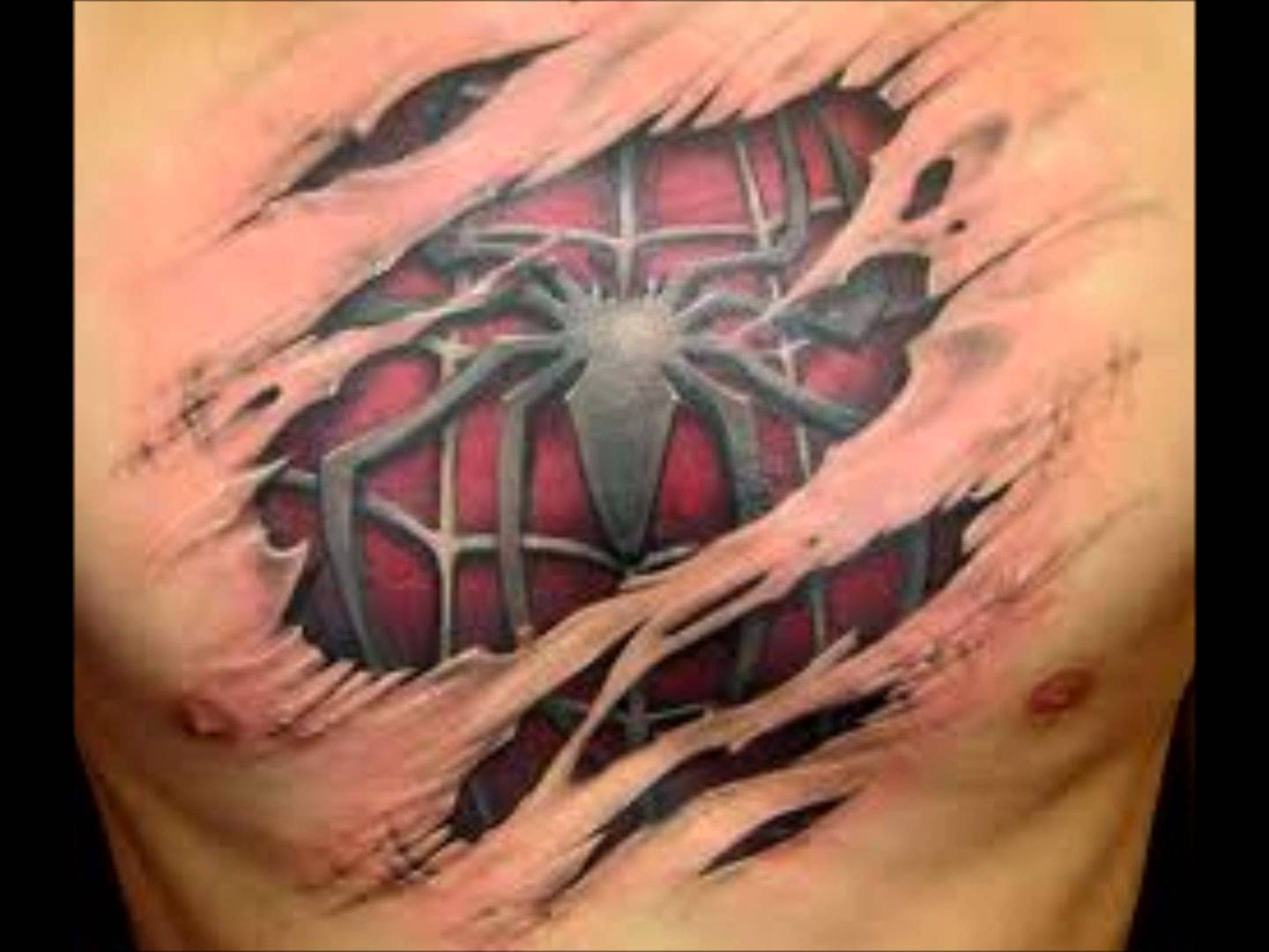 Name canadian flag ripping through skin tattoo designjpg pictures - Torn Skin Spider With Web Tattoo On Man Chest