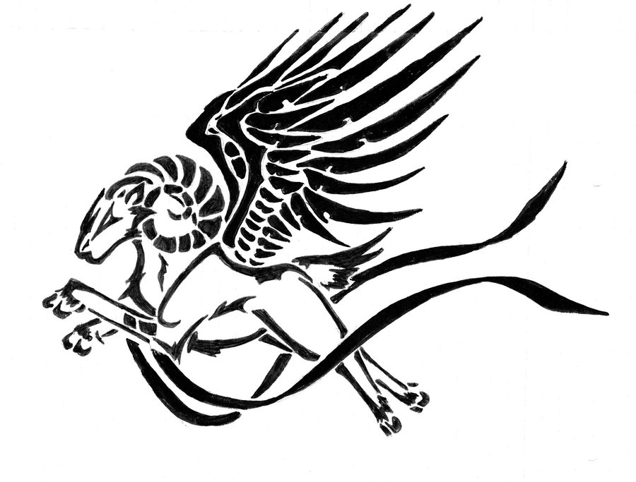 ca59c2dbd9e5f Unique Black Aries With Wings Tattoo Stencil By Greenyfox