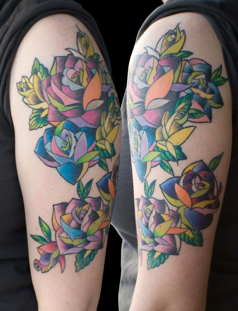 11 amazing rainbow rose tattoos for Unique rose tattoos