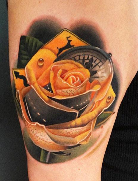 caf5c689d Unique Yellow Rose Tattoo Design