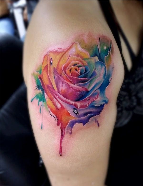 11 Amazing Rainbow Rose Tattoos