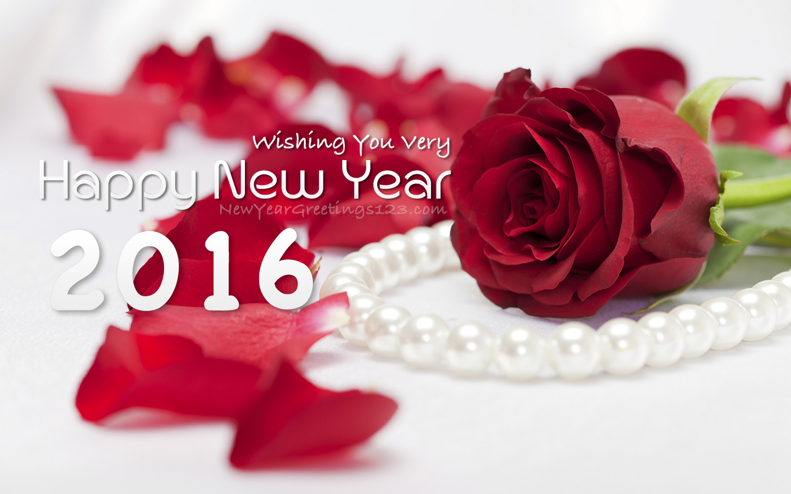 wishing you very happy new year 2016 red rose petals