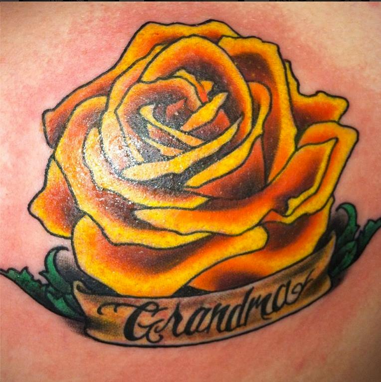 Rose With Banner Tattoos: 28 Best Yellow Rose Tattoos
