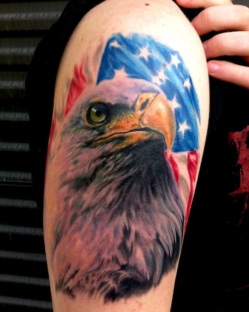 American Flag Eagle With Knight Patriotic Tattoo On ...
