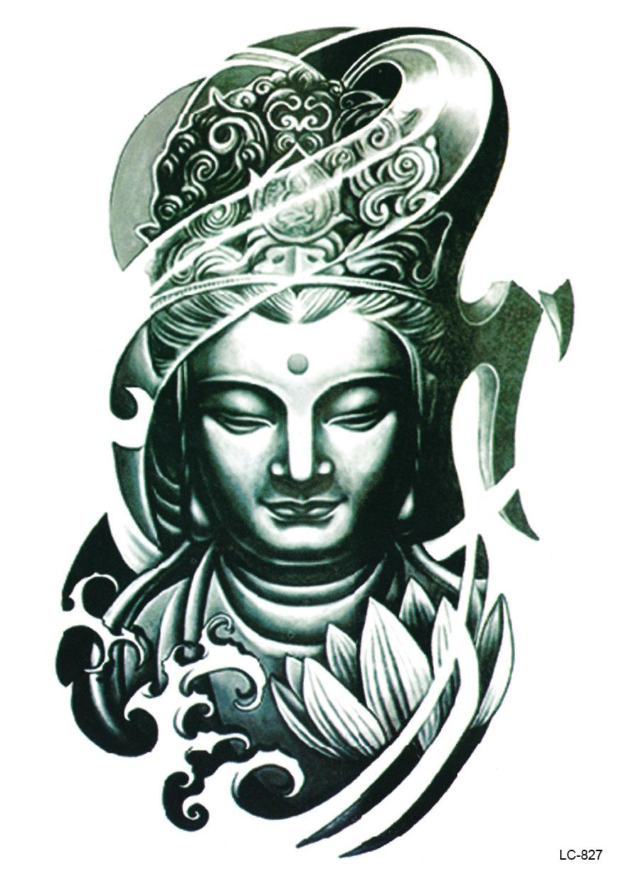 Artistic Buddha Head Tattoo Design