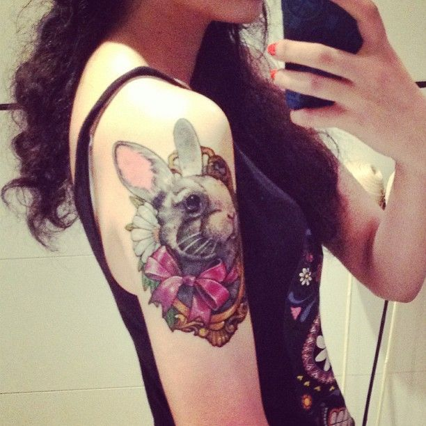 9f065acc8 Awesome Rabbit With Bow In Frame Tattoo On Girl Right Half Sleeve