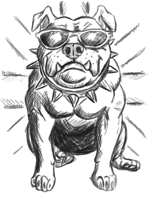 Black Ink Bulldog Tattoo Design By Jack Wargson