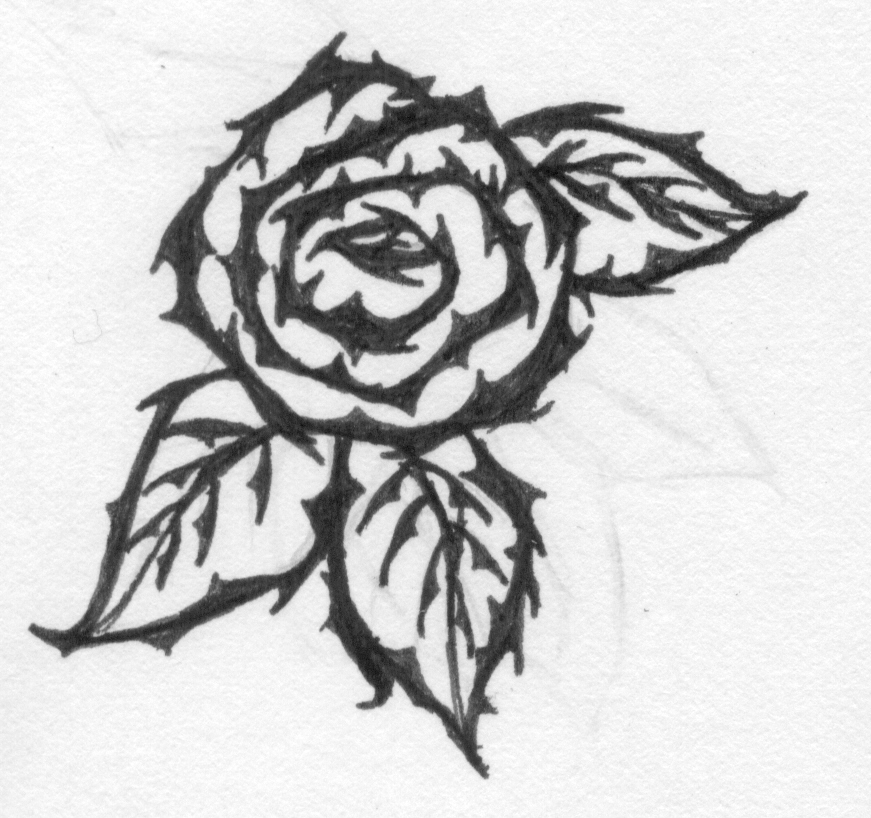 Black Thorns Rose Tattoo Stencil By Klamath Child
