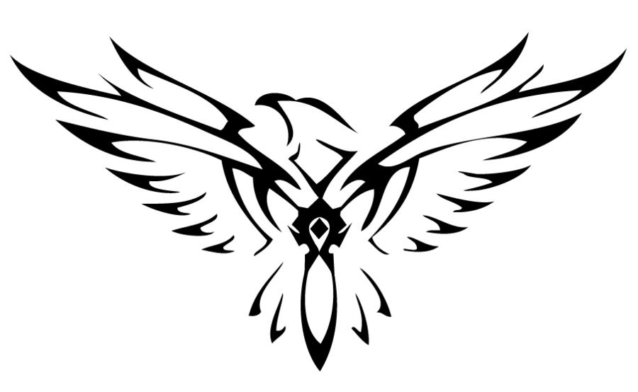 black flying falcon tattoo stencil by kristina