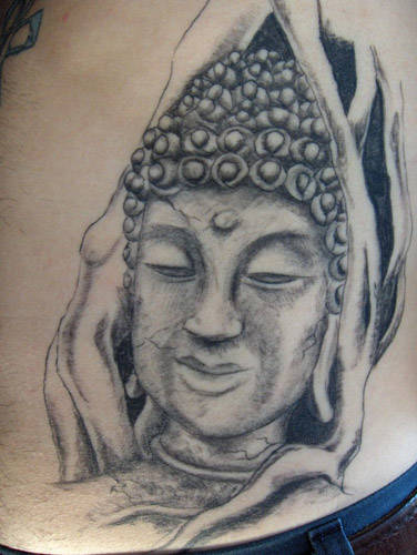 30 most incredible buddha head tattoos and designs. Black Bedroom Furniture Sets. Home Design Ideas