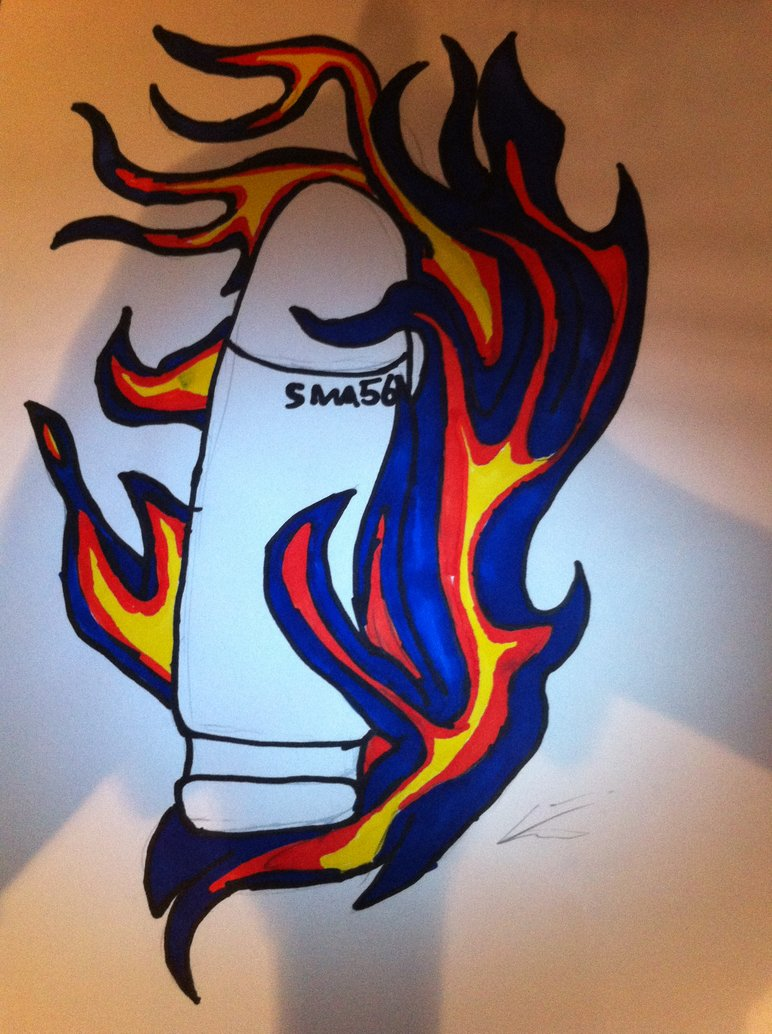 Bullet In Flame Tattoo Design By Josh