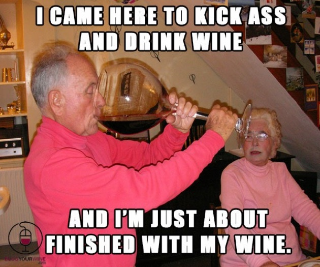 Funny Drunk Meme Pictures : I came here to kick ass and drink wine funny drinking meme