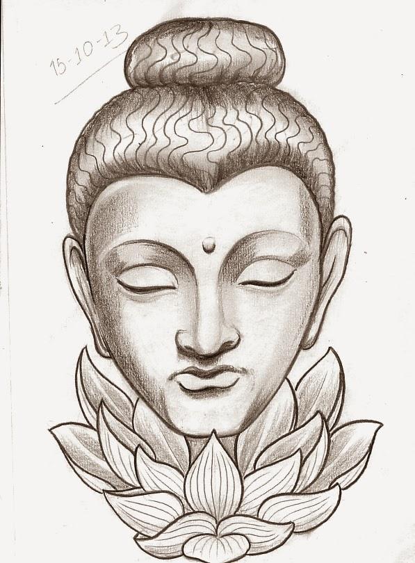 Incredible Buddha Head with Lotus Flower Tattoo Design