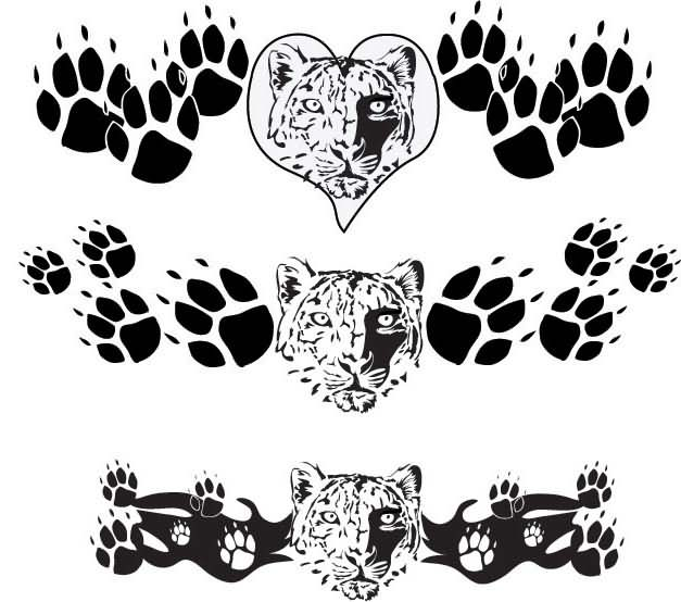 19 leopard paw prints tattoo designs images and pictures. Black Bedroom Furniture Sets. Home Design Ideas