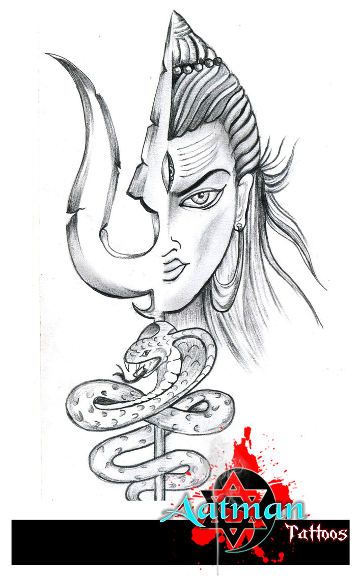 Lord shiva with trishul and snake tattoo design by bhavith narayan