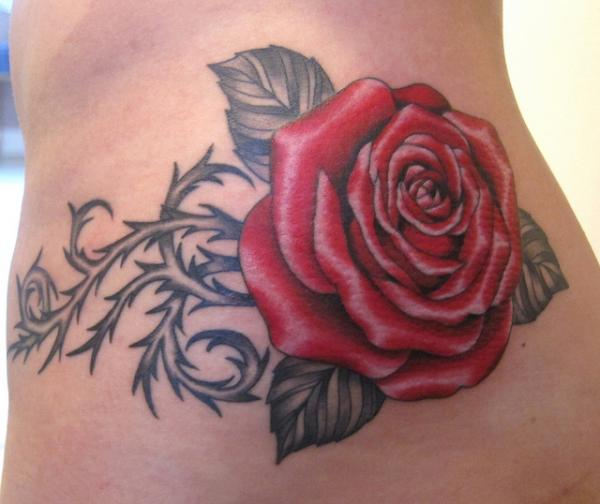 Red Rose With Thorns Tattoo Design By Suzanna Fisher