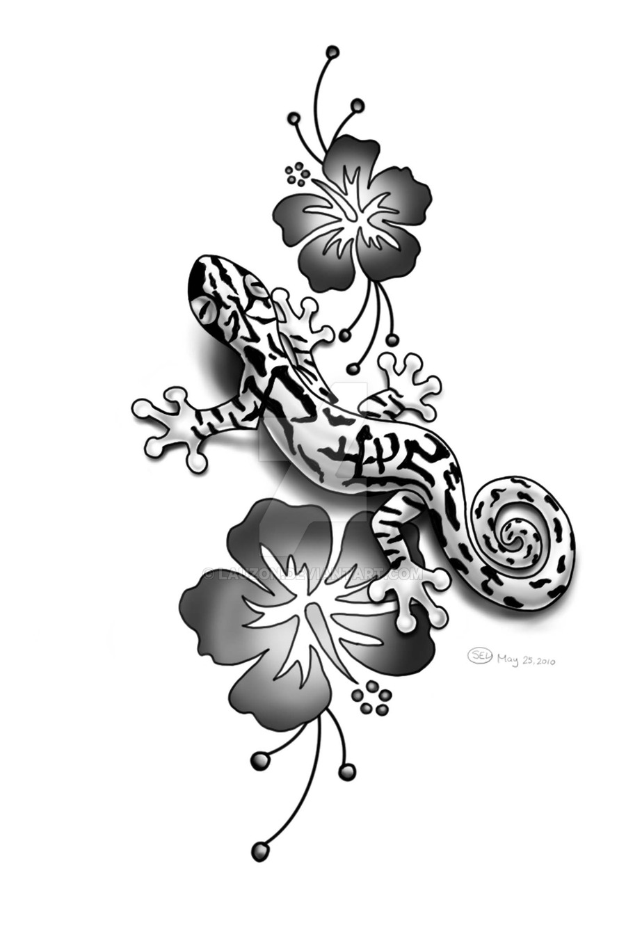 Unique Gecko With Flowers Tattoo Design By Sharon