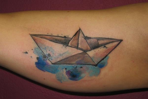 Watercolor Paper Boat Tattoo Design For Arm By Ondrash